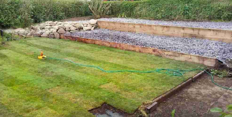 Raised slate terraces and new turf