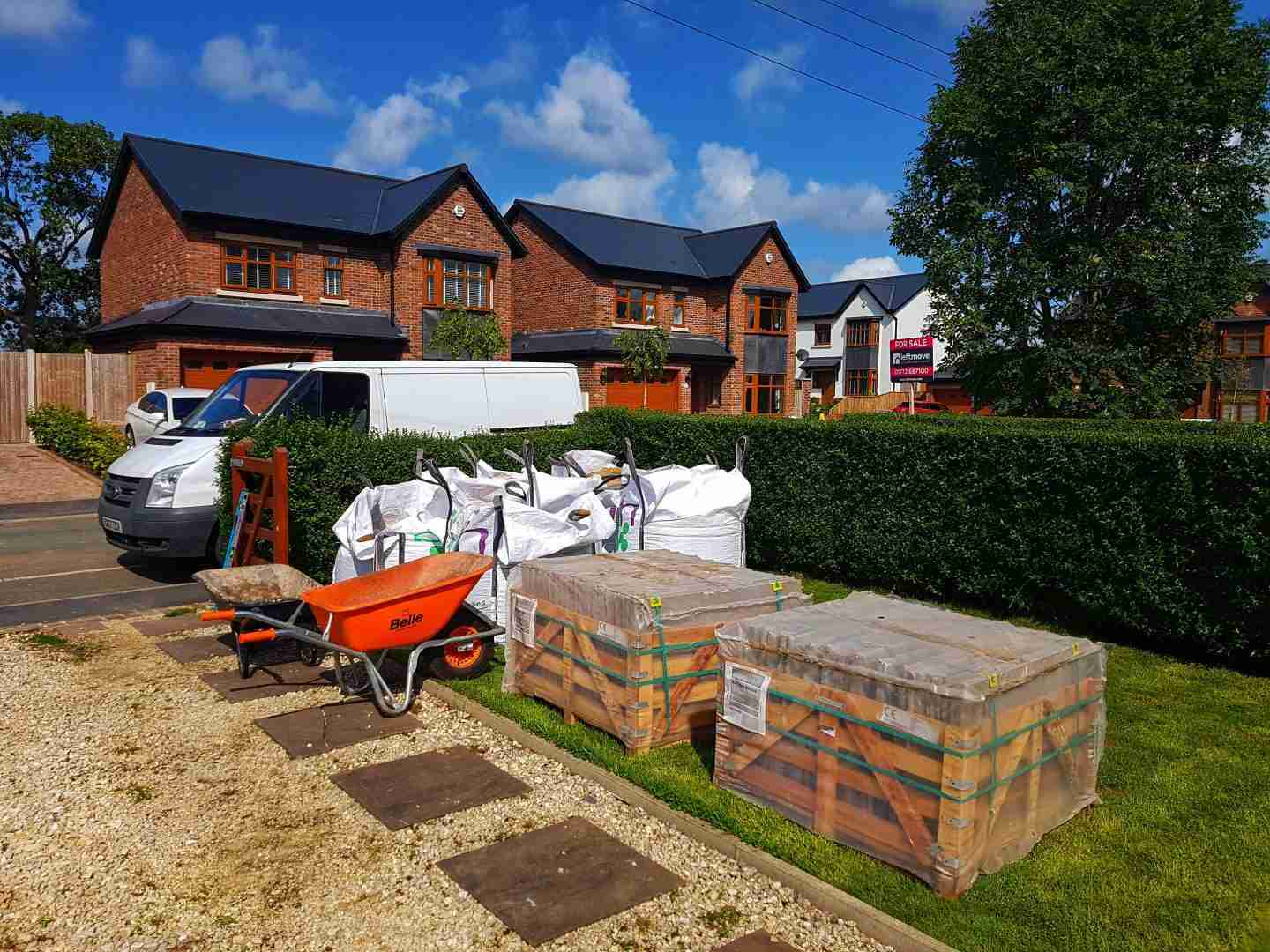 Indian stone paving ready to be laid in Freckleton
