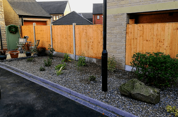 Close board privacy fence around front garden