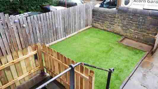 Artificial grass and picket fencing, Chorley