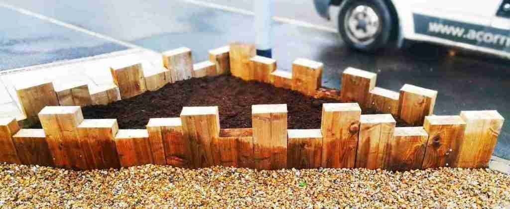 Custom build wooden sleeper planter, longridge, Preston