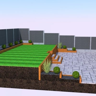 A sloped lawn which has been turned into a two tiered garden