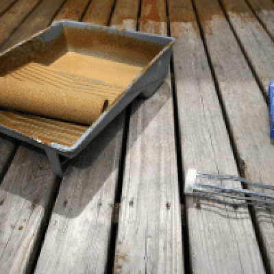 Decking stain being applied