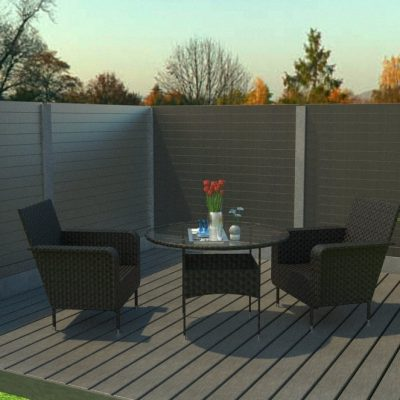 Render of composite decking with garden furniture on a sunny day