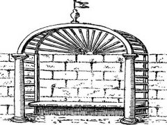 Drawing of an arbour with stone pillars and a bench