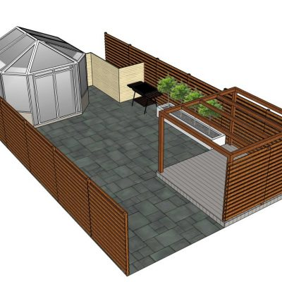 Contemporary enclosed garden design with slatted fencing, pergola and dark limestone paving