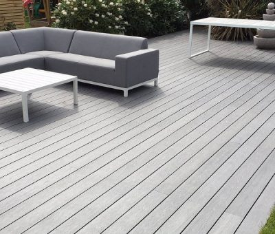 White composite decking with minimalist furniture