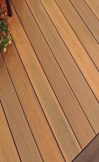 Brown wood effect composite decking