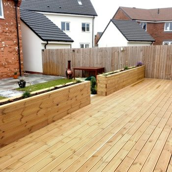Wooden decking with built in planters
