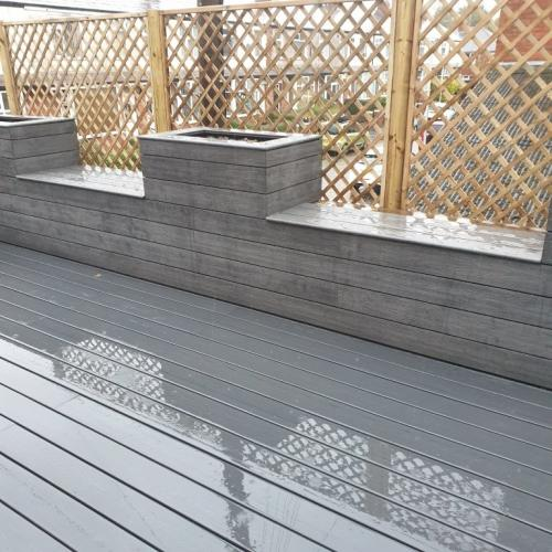 Grey composite decking seating