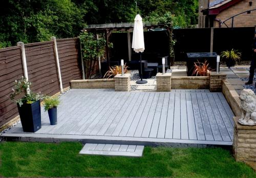 Grey composite, ground level decking